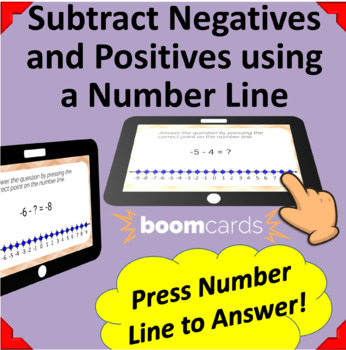 Subtracting Positive & Negative Integers on a Number Line-15 Boom Learning Cards