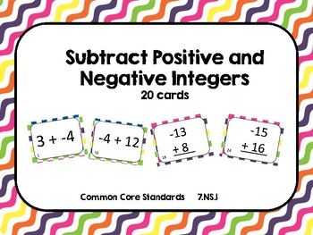 Subtracting Positive and Negative Integer Task Card (20 cards)