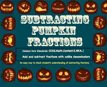 Subtracting Pumpkin Fractions - Easy & Fun Way to Check Student Work!