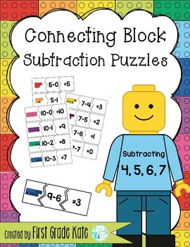 Subtraction Puzzles for Taking Away 4,5,6,7
