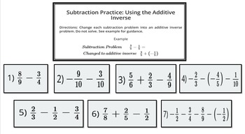 Subtracting Rational Numbers (Additive Inverse)