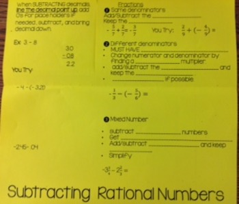 Subtracting Rational Numbers (Decimals/Fractions)