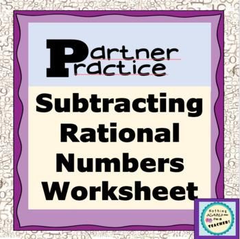 Subtracting Rational Numbers Partner Practice Matching Worksheet