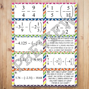 Subtracting Rational Numbers Task Cards Matching Game