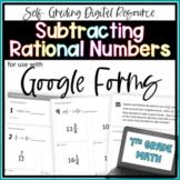 Subtracting Rational Numbers- for use with Google Forms