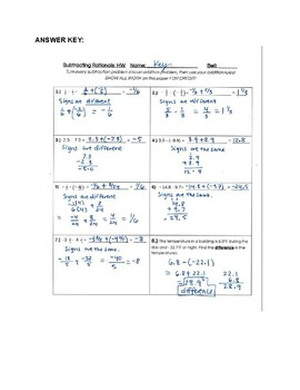 Subtracting Rationals Worksheet