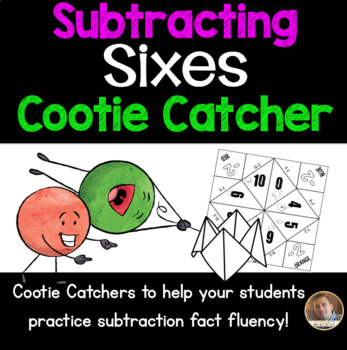 Subtracting SIXES Cootie Catcher/Fortune Teller- Perfect f