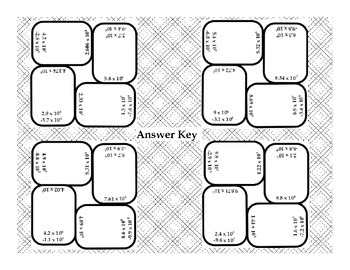 Subtracting Scientific Notation Dominoes