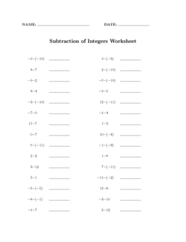 Subtracting Signed Integers: 100 drill sheets