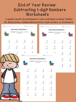 Single Digit Subtraction Review Worksheets/End of Year Review