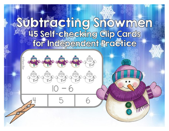 Subtracting Snowmen Clip Cards for Independent Practice