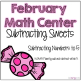 Subtraction to 5 Kindergarten February Math Center Task Cards