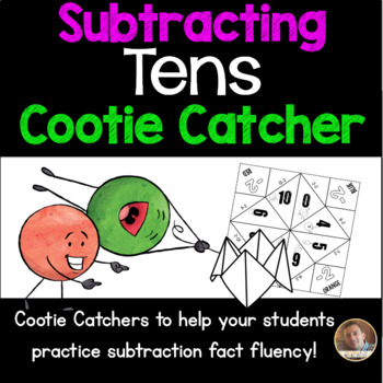 Subtracting TENS Cootie Catcher/Fortune Teller- Perfect for Fact Fluency
