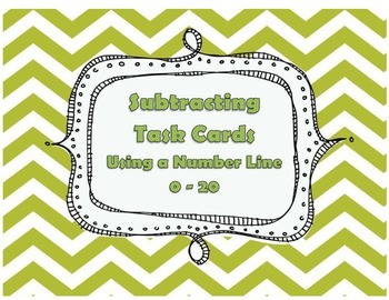 Subtracting Using a Number Line 0 - 20 Task Cards