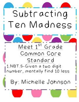 Subtracting Ten Madness-Common Core 1.NBT.5