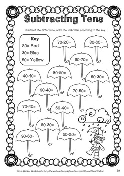 Subtracting Tens Worksheets (Subtract 10 from a two digit number printables)