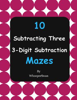 Subtracting Three 3-Digit Subtraction Maze