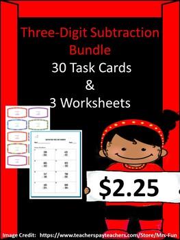 Subtracting Three-Digit Numbers Bundle (30 Task Cards & 3 Worksheets)
