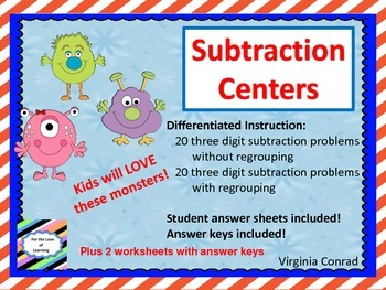 Subtracting Three Digit Numbers With and Without Regrouping