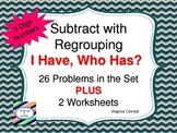 Subtracting Three Digit Numbers with Regrouping--I Have, Who Has? Game