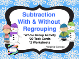 Subtracting Three Digit Numbers with Regrouping:  Snowman Theme