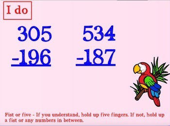 Subtracting Three Digit Numbers with Regrouping for PROMETHEAN Board