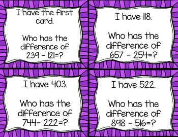 Subtracting Three Digits from Three Digits without regrouping I Have...Who Has.