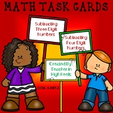 Subtracting Three and Four Digit Numbers Math Task Cards/S