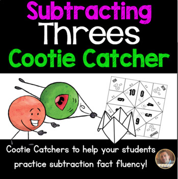 Subtracting Threes Cootie Catcher/Fortune Teller- Perfect for Fact Fluency