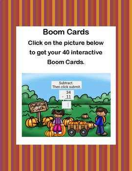 Subtracting Two 2-digit Numbers- No Regrouping -Boom Cards-Pumpkin Patch