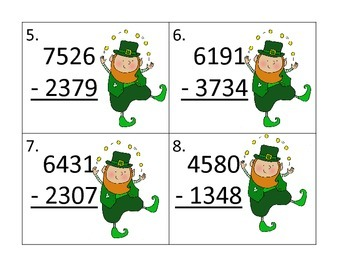 Subtracting Two 4 Digit Numbers with Regrouping--St. Patrick's Day Theme