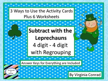 Subtracting Two 4 Digit Numbers with Regrouping--St. Patri