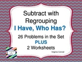 Subtracting Two Digit Numbers with Regrouping--I Have, Who Has? Game