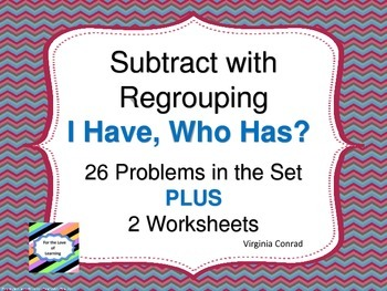 Subtracting Two Digit Numbers with Regrouping--I Have, Who