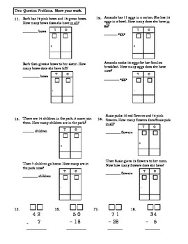 Envision Topic 9- Subtracting Two-digit Numbers Test