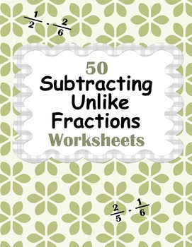 Subtracting Unlike Fractions Worksheets