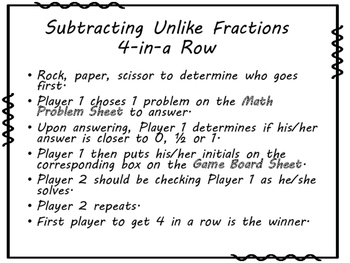 Subtracting Unlike Fractions 4-in-a-Row