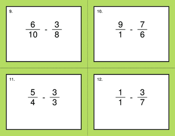 Subtracting Unlike Fractions - BINGO and Task Cards