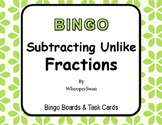 Subtracting Unlike Fractions - BINGO and Task Cards