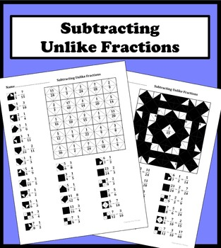 Subtracting Unlike Fractions Color Worksheet
