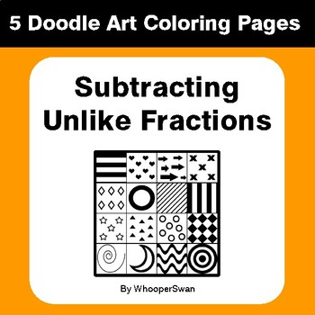 Subtracting Unlike Fractions - Coloring Pages | Doodle Art Math