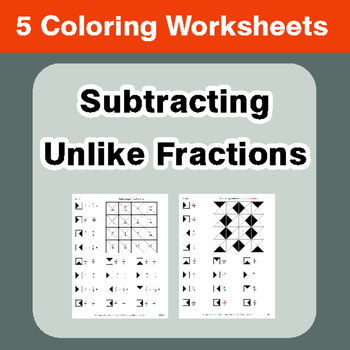 Subtracting Unlike Fractions - Coloring Worksheets