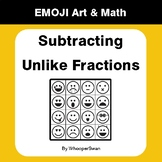 Subtracting Unlike Fractions - Emoji Art & Math - Draw by Number Coloring Pages