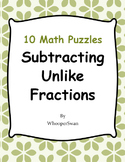Subtracting Unlike Fractions Puzzles
