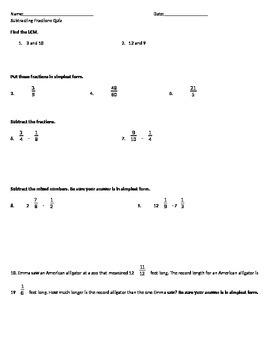 Subtracting Unlike Fractions Quiz