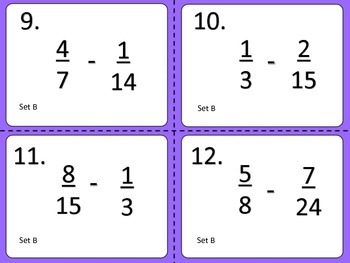 Subtracting Unlike Fractions--Task Cards