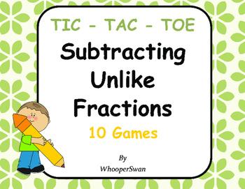 Subtracting Unlike Fractions Tic-Tac-Toe