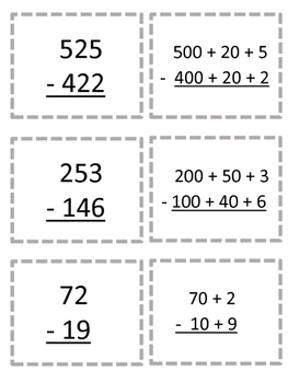 expanded form subtraction  Subtraction Using Partial Differences (Expanded Form) Card Game