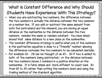 Subtracting Using the Constant Difference Strategy