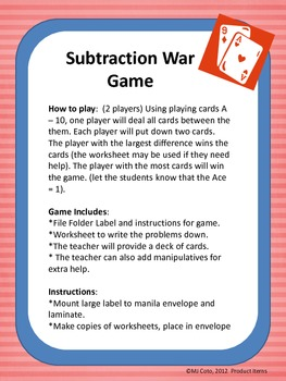 Subtracting War Game